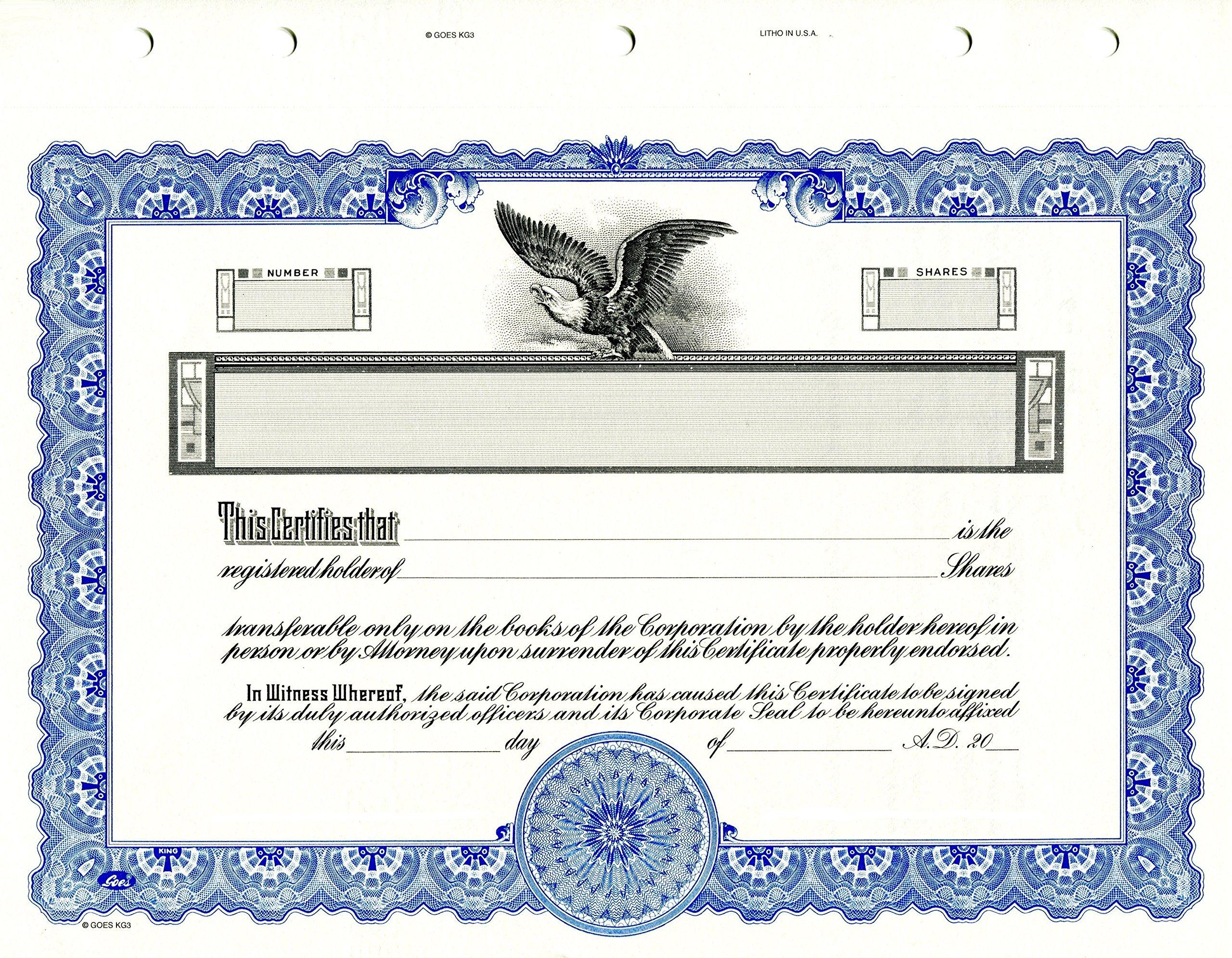 KG 3 Stock Certificate, Blue Border, Pack of 15