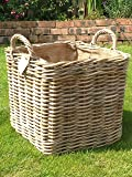 Very Strong Excellent Quality Lined Square Log Basket / Storage Basket