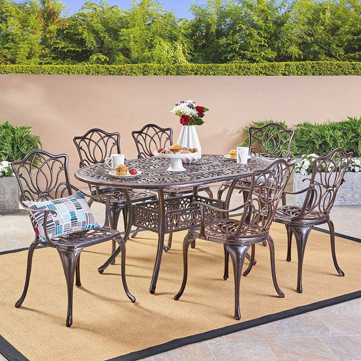 Christopher Knight Home Gardena Outdoor Furniture Dining Set, Table and Chairs for Patio or Deck in Copper 7-Piece Set