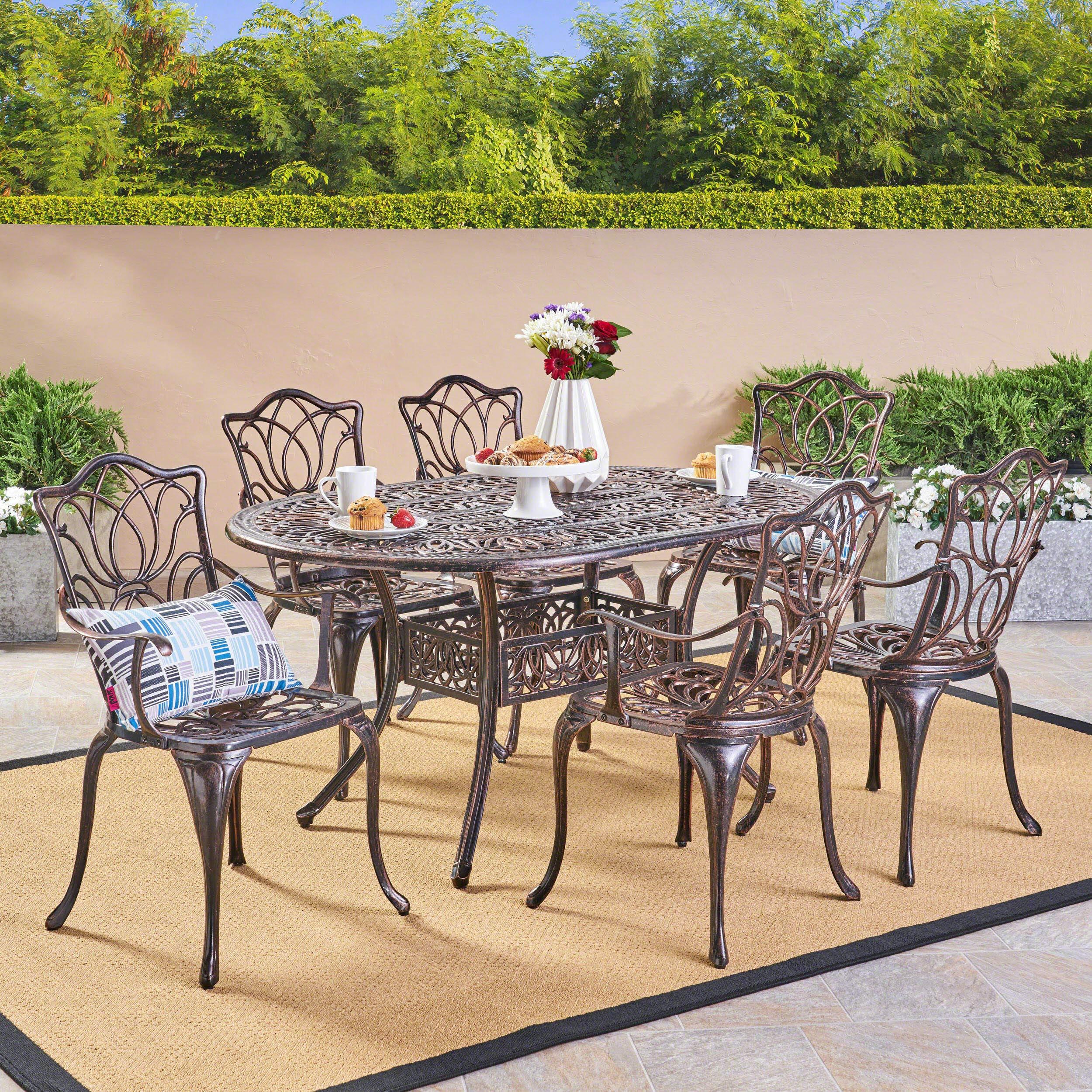 Cast Aluminum Patio Furniture 7 Piece Set Copper Oval Outdoor