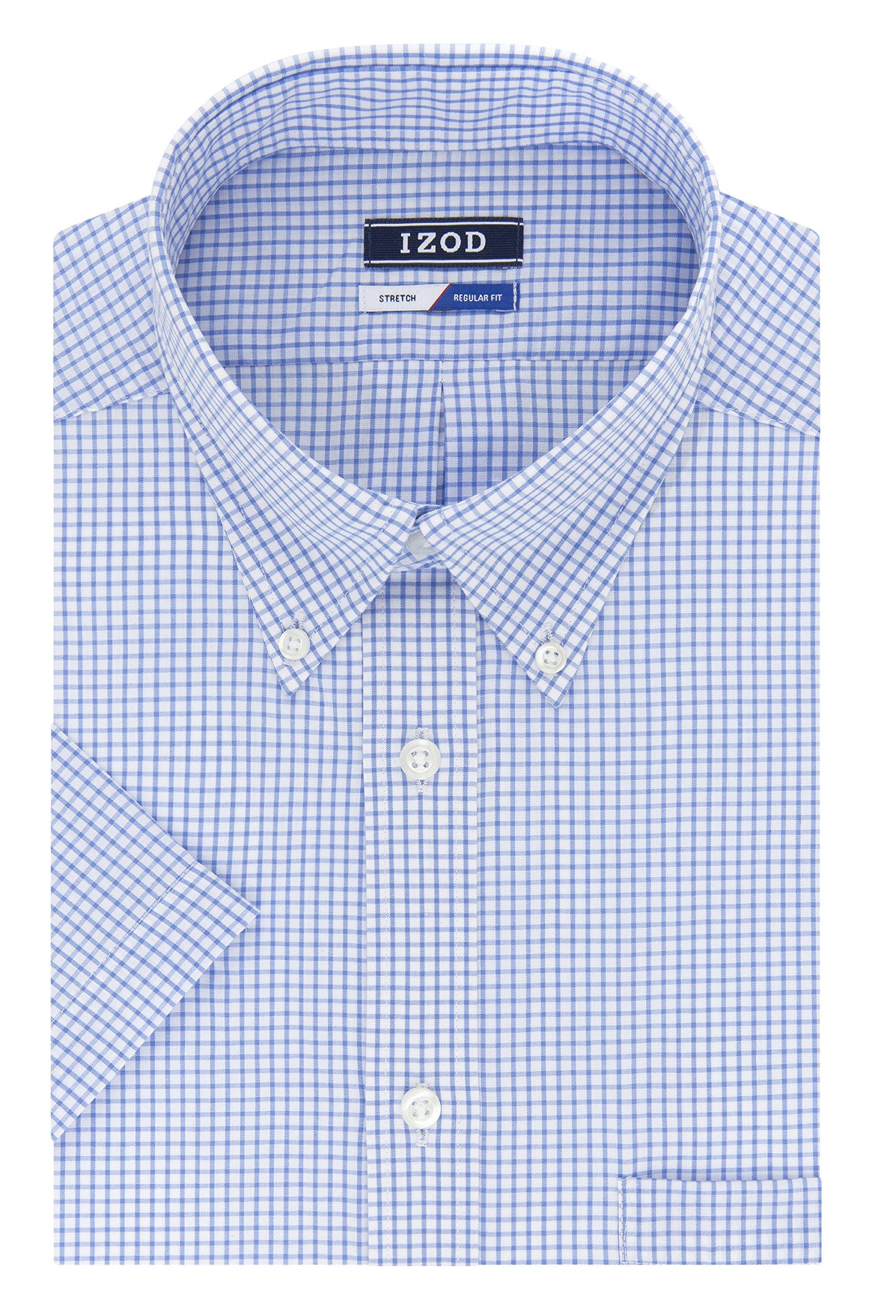 IZOD Men's Regular Fit Short Sleeve Check Dress Shirt, Blue, 18.5'' Neck