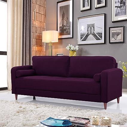 amazon com mid century modern linen fabric living room sofa purple