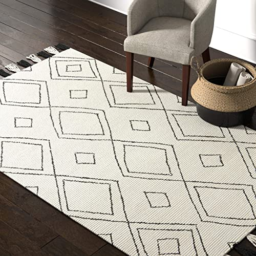 Amazon Brand Rivet Diamond Trellis Tassel Wool Rug, 5 x 8 , Ivory