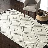 Amazon Brand – Rivet Diamond Trellis Tassel Wool Rug, 5' x 8', Ivory