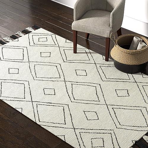 Rivet Diamond Trellis Tassel Wool Rug, 5 x 8 , Ivory