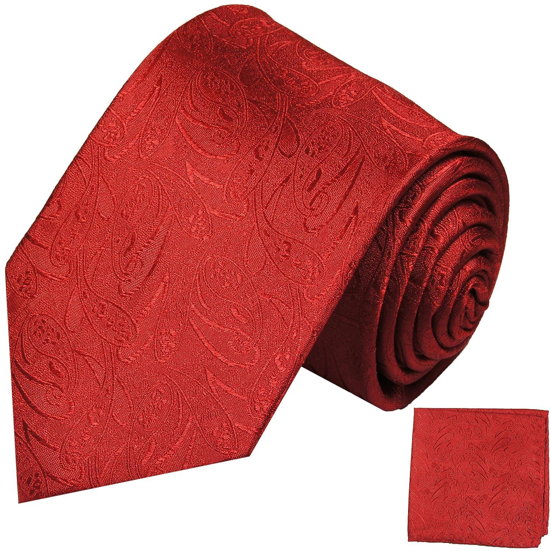 P.M. Krawatten Paul Malone Corbata de seda uni rojo paisley + ...