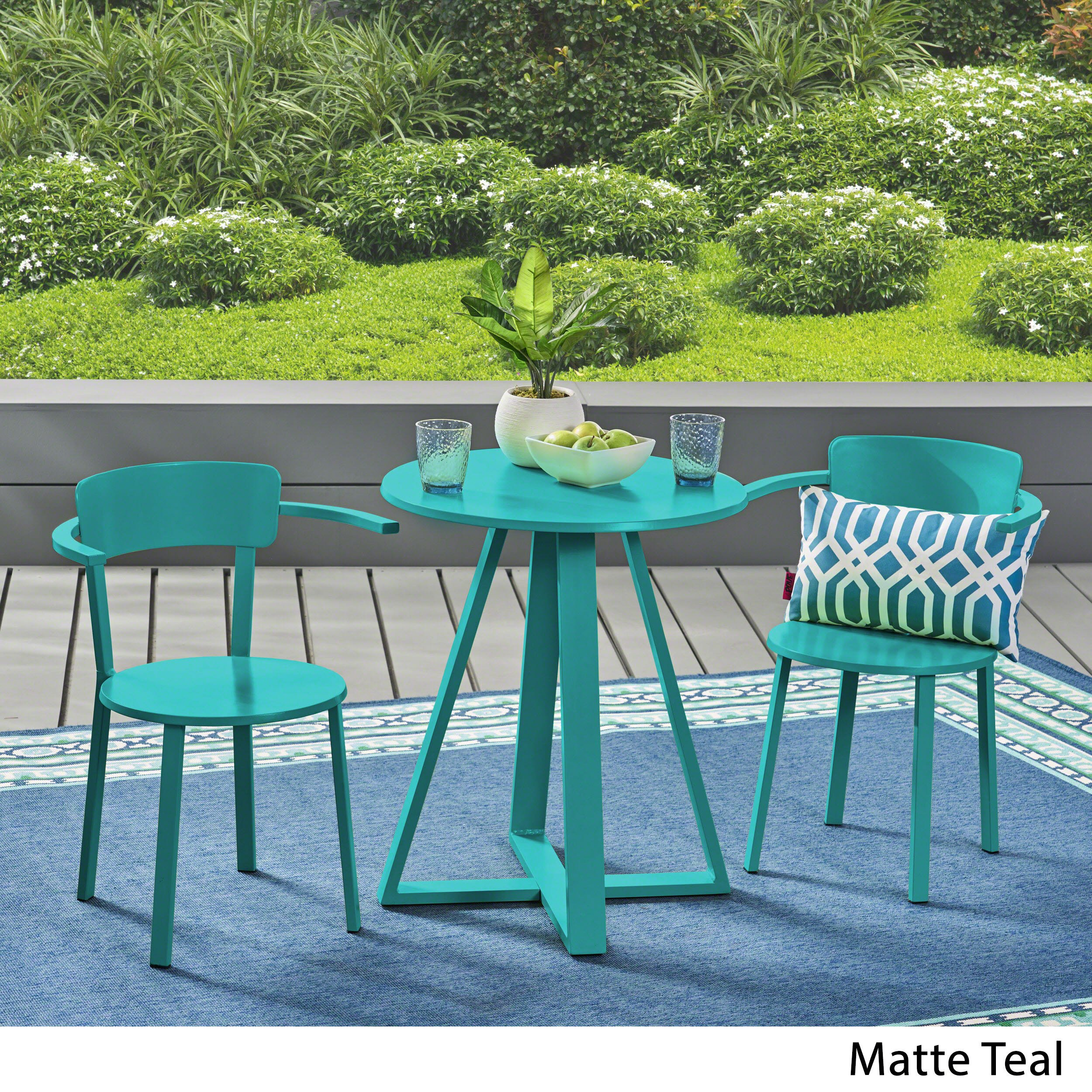Great Deal Furniture Kate Outdoor Iron Bistro Set, Matte Teal by Great Deal Furniture (Image #2)
