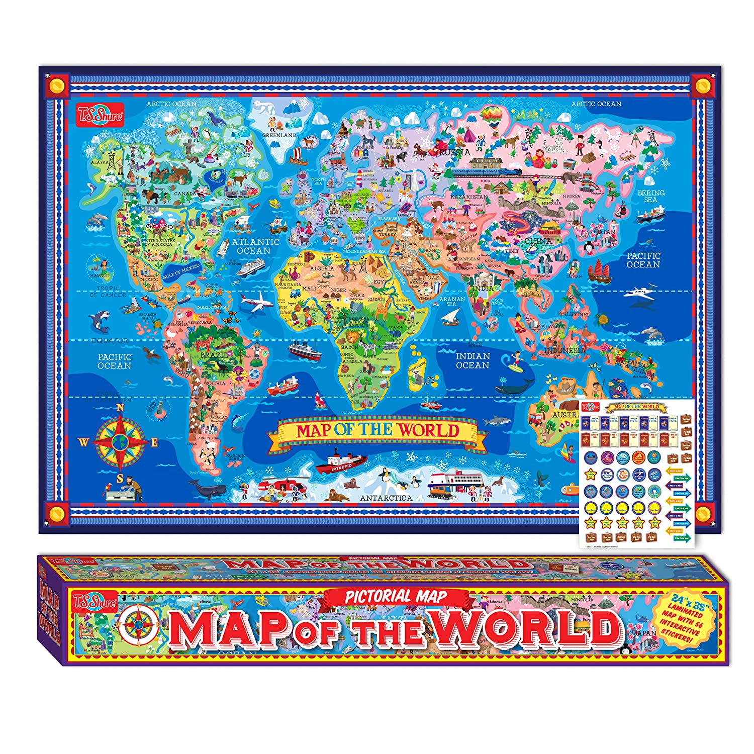 Amazoncom TS Shure Pictorial Map Of The World Laminated - Interactive map for children