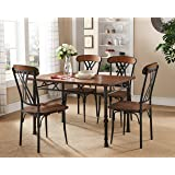 Kings Brand Furniture Ash Finish Wood with Metal Dining Dinette – Kitchen (Table & 4 Chairs)