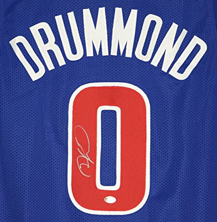 ca447a20532f Andre Drummond Detroit Pistons Signed Autographed Blue  0 Custom Jersey