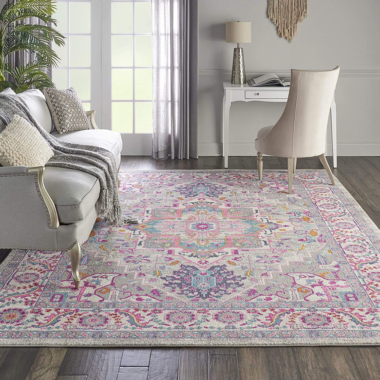"Nourison PSN20 Passion Persian Colorful Light Grey/Pink Area Rug 6'7"" X 9'6"", 7' x 10'"