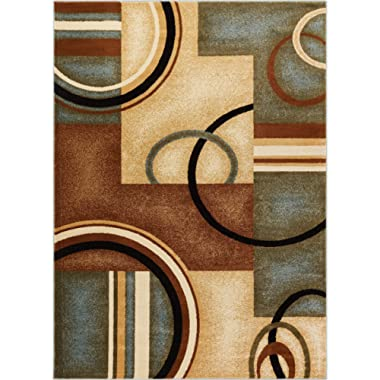 Deco Rings Light Blue Geometric Modern Casual Area Rug 5x7 ( 5'3  x 7'3  ) Easy to Clean Stain Fade Resistant Shed Free Abstract Contemporary Color Block Boxes Lines Soft Living Dining Room Rug