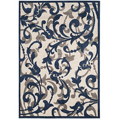 Safavieh Amherst Collection AMT428M Floral Scroll Area Rug, 4 x 6 , Ivory Navy