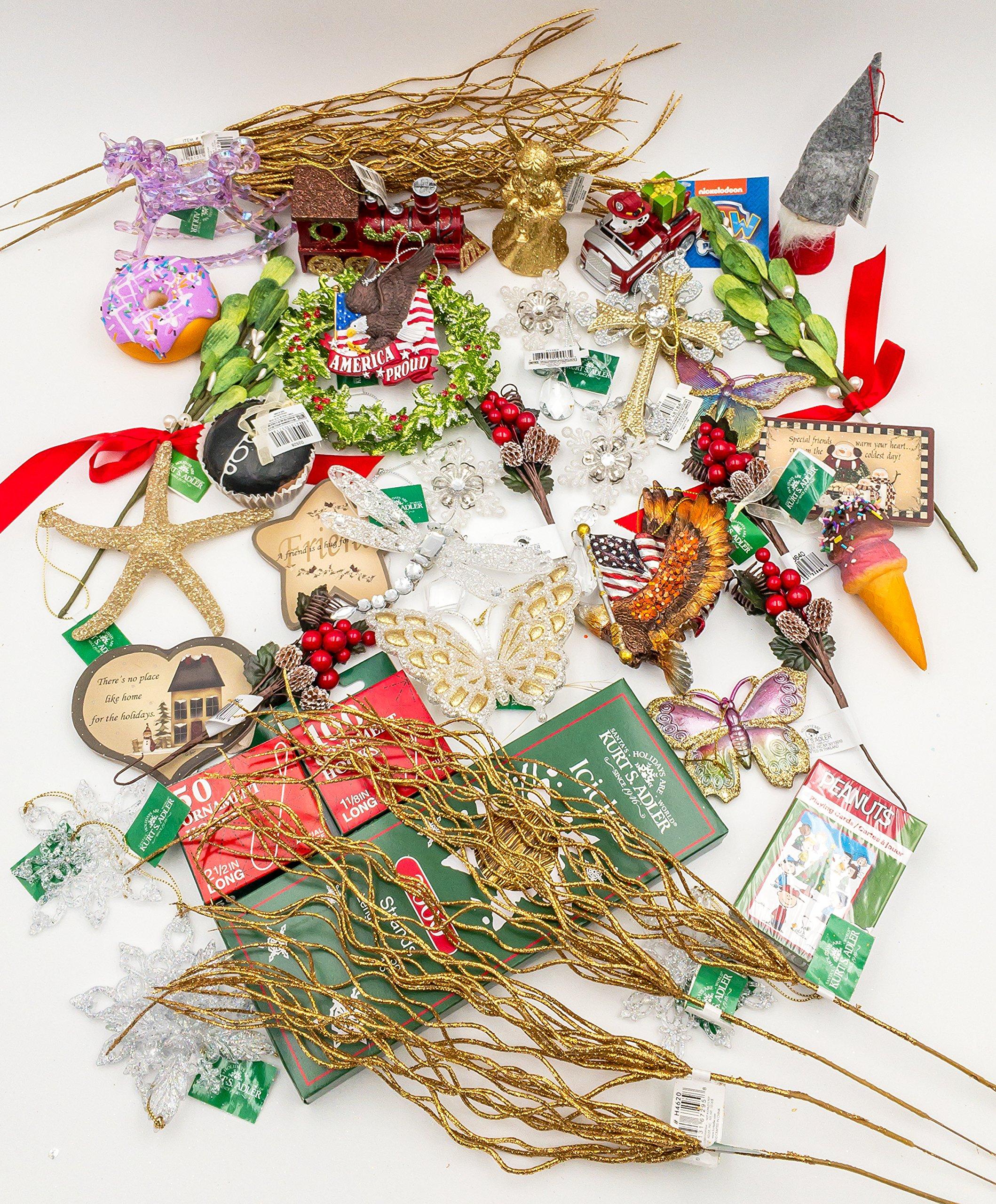 JZ Bundles Starter Set - Best of Christmas Version B - Kurt Adler - 43-Piece Bundle - A Bundle of Christmas Ornaments Great Gift