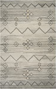 Rizzy Home Suffolk Collection Wool Area Rug, 8' x 10', Gray/Natural Moroccan