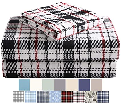 Morgan Home Fashions Cotton Turkish Flannel Sheets 100% Brushed Cotton for Supreme Comfort - Deep Pockets - Warm and Cozy, Great for All Seasons (White Plaid, Twin) best king-sized flannel sheet sets