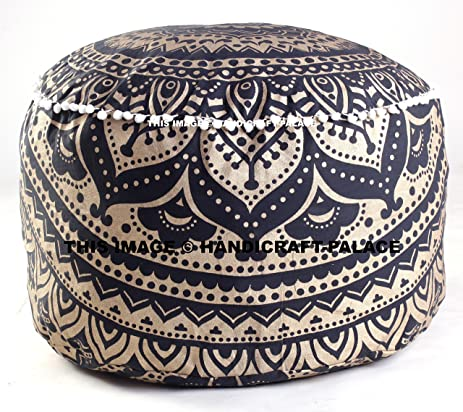 Indian Black Gold Ombre Mandala Footstool Round Pouf Cover Ottoman Pouffe Decorative
