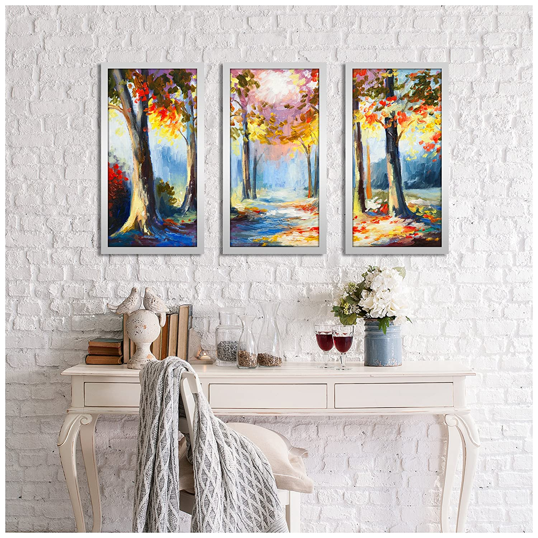Picture Perfect International Forest of Secrets 1 Framed Plexiglass Art Set of 3 Wall-Decor 17.5 W x 33.5 H x 1 D