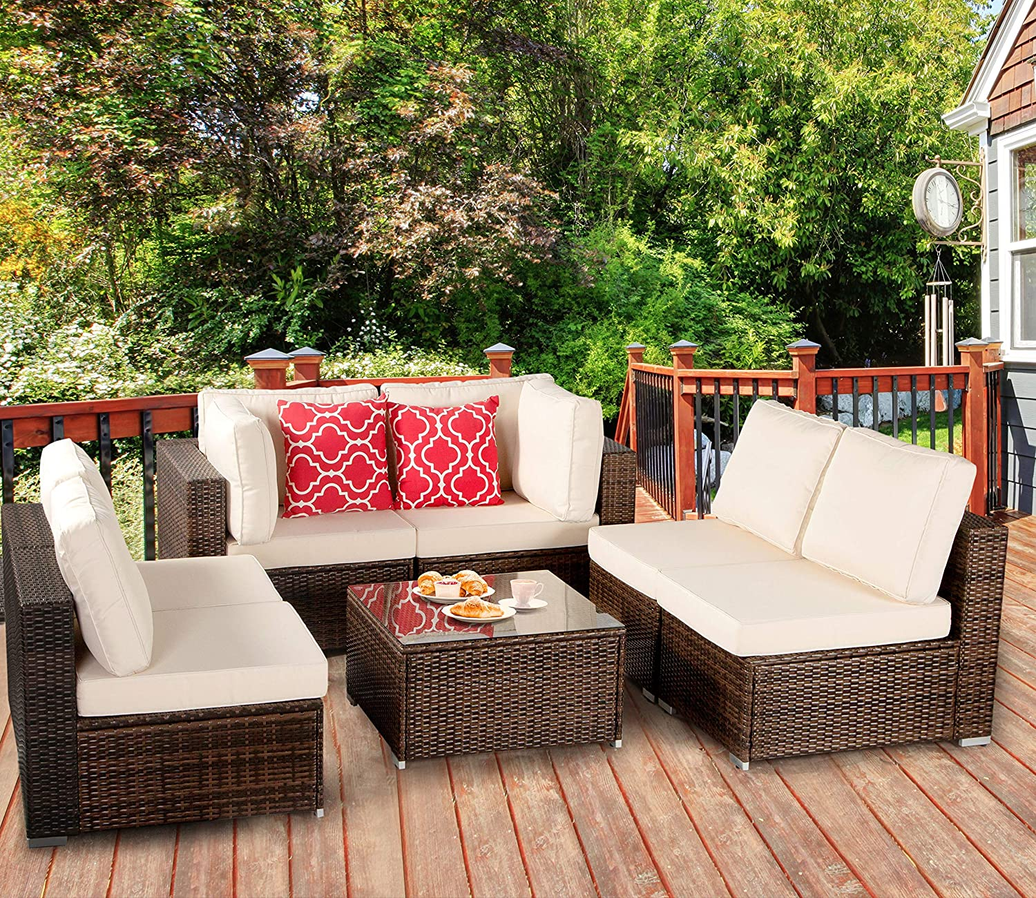 Polaris Garden 11-Piece Outdoor Patio Furniture Set, PE Rattan Wicker Sofa  Set, Outdoor Sectional Conversation Furniture Chair Set with Cushions and