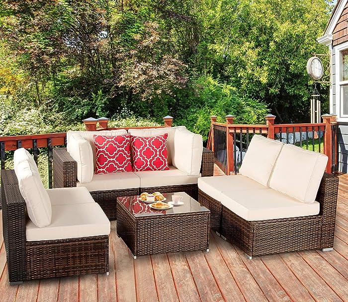 Polaris Garden 7-Piece Outdoor Patio Furniture Set, PE Rattan Wicker Sofa Set, Outdoor Sectional Conversation Furniture Chair Set with Cushions and Tea Table (Brown/Tan)