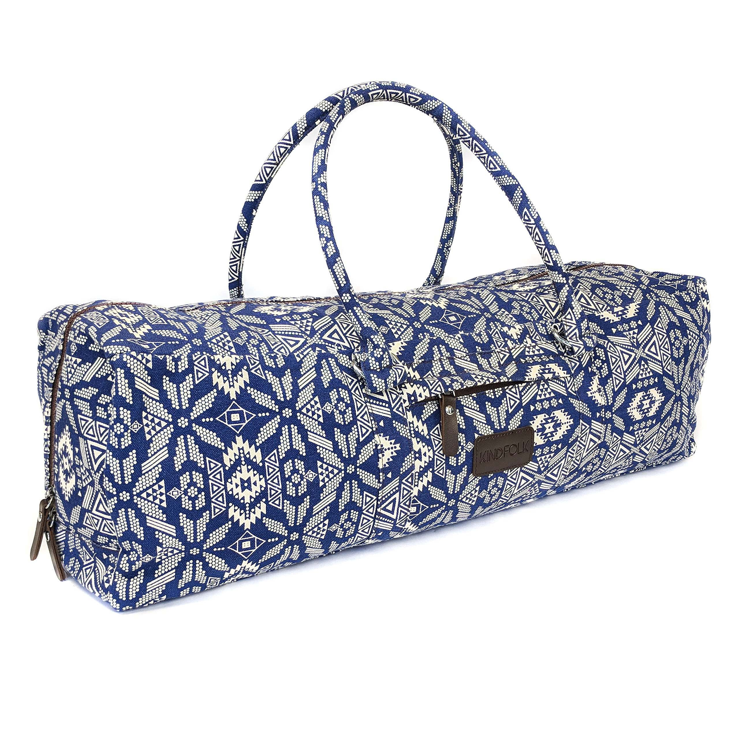 766a246c8a51 Amazon.com   Kindfolk Yoga Mat Duffle Bag Patterned Canvas with Pocket and  Zipper (Bravo)   Sports   Outdoors