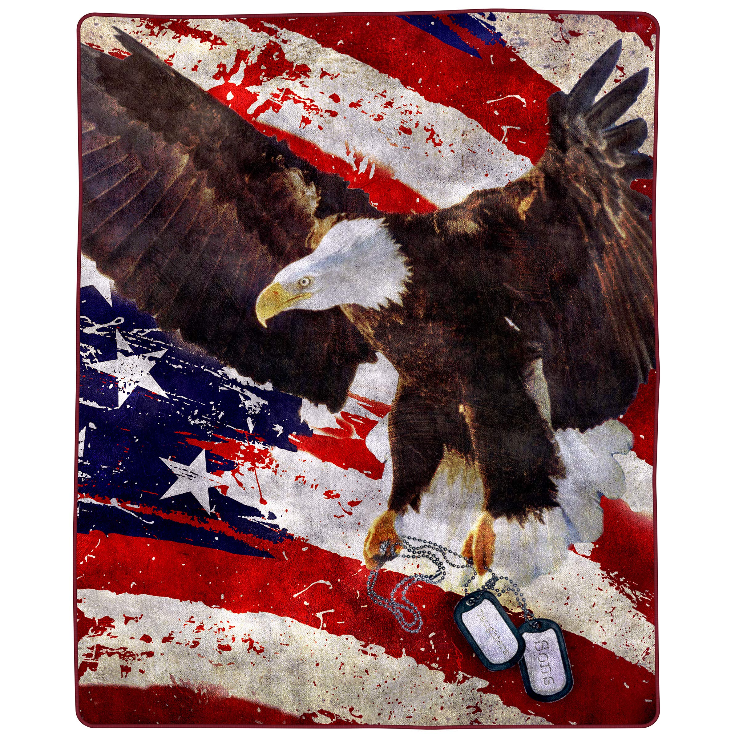 Bedford Home 8 Lb Throw Blanket - Oversized Woven Plush Sofa or Soft Comfort Bed Decor with Printed Wildlife Design for Kids and Adults (Bald Eagle)