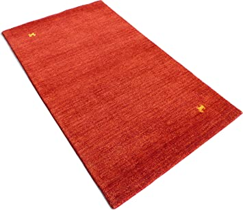 Gabbeh Loom Tapis Noue A La Main Indien Rouge 120x180 Amazon Fr
