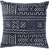 "Rivet Mudcloth-Inspired Pillow, 17"" x 17"", Navy"