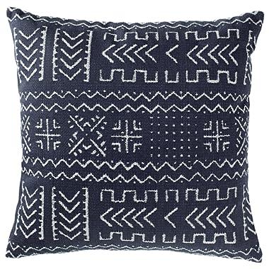 Rivet Mudcloth-Inspired Decorative Throw Pillow, 17  x 17 , Navy