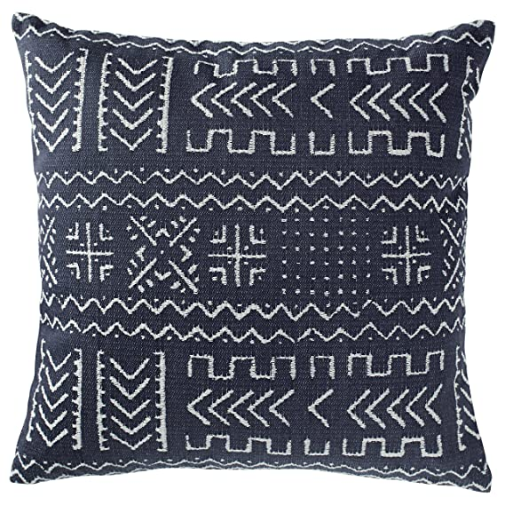"""Rivet Mudcloth Inspired Decorative Throw Pillow, 17"""" X 17"""", Navy by Rivet"""