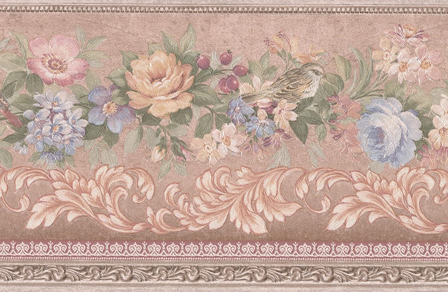 Blue Pink Beige Flowers Birds Berries Vintage Floral Wallpaper
