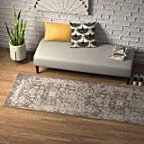"Amazon Brand – Rivet Charcoal Distressed Medallion Area Rug, 2' 8"" x 8'"