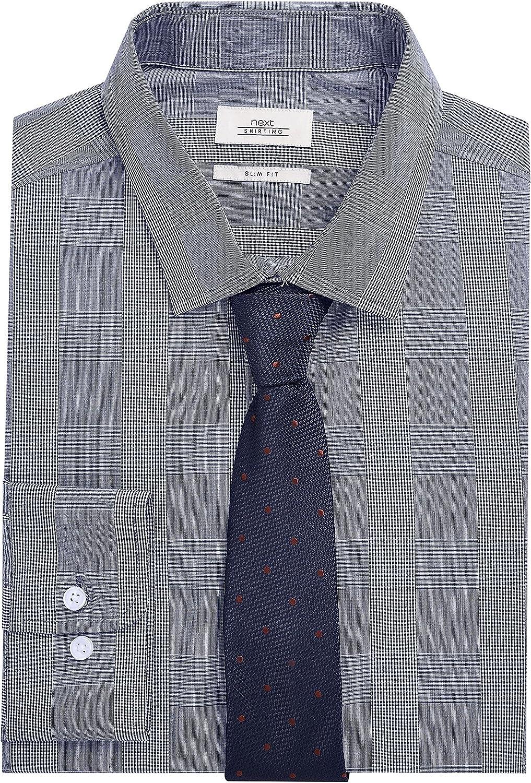 next Hombre Conjunto De Corbata Y Camisa De Corte Entallado De Cuadros Azul Cuello 51 cm Regular: Amazon.es: Ropa y accesorios