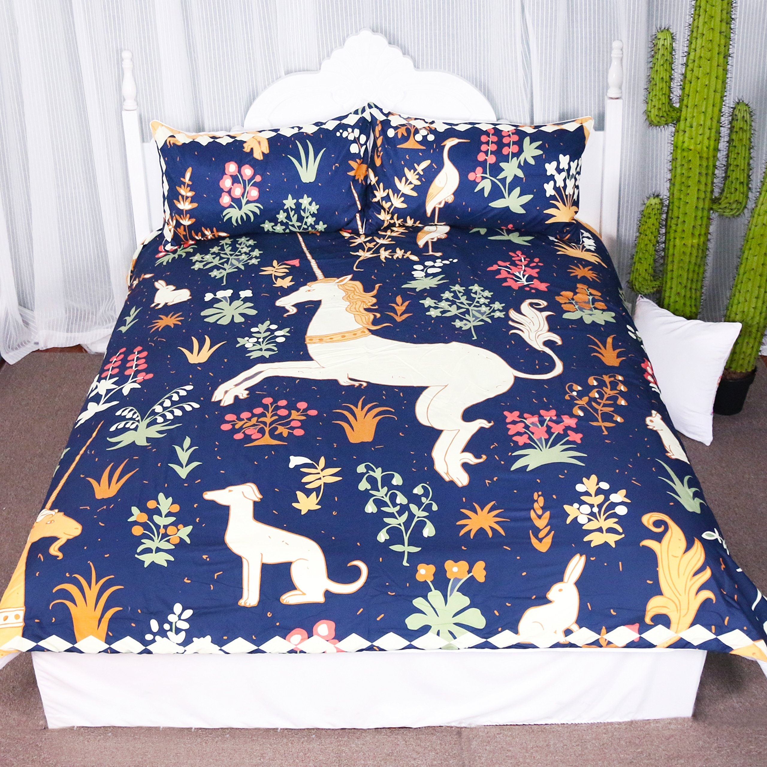 Fantasy Prancing Unicorn Dancing in Flowers Duvet Cover Set 3 Pieces Cute Animals Graphic Design Bedspread Bedding Set (Queen) by ARIGHTEX