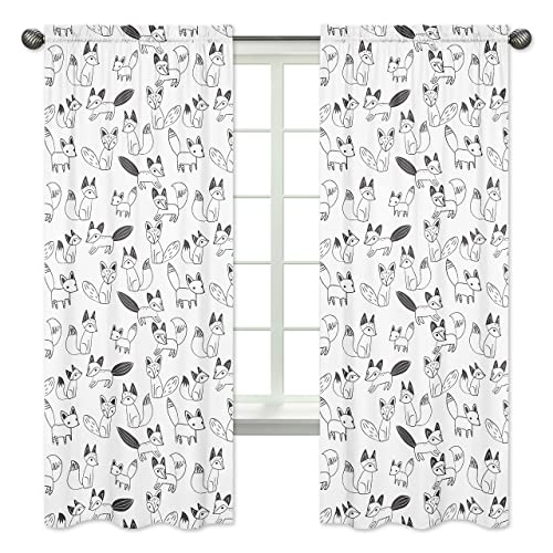 Bedroom Decor Window Treatment Panels for Black and White Fox Collection – Set of 2