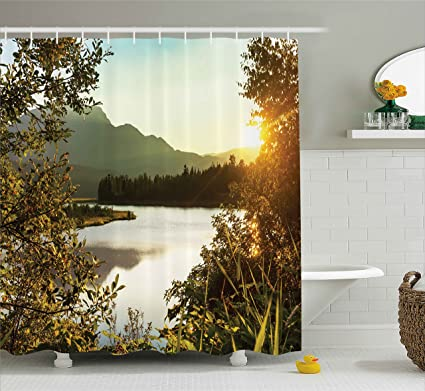 Nature Decor Shower Curtain By Ambesonne Sunset Scene On Lake Idyllic Relaxing Village Serene Outdoor