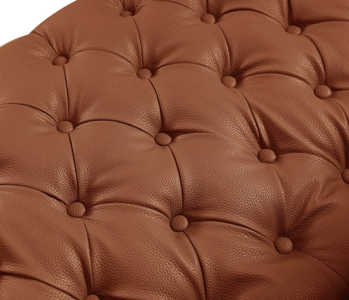 Iconic Home Winston PU Leather Modern Contemporary Button Tufted with Gold Nailhead Trim Goldtone Metal Y-leg Sofa, Brown