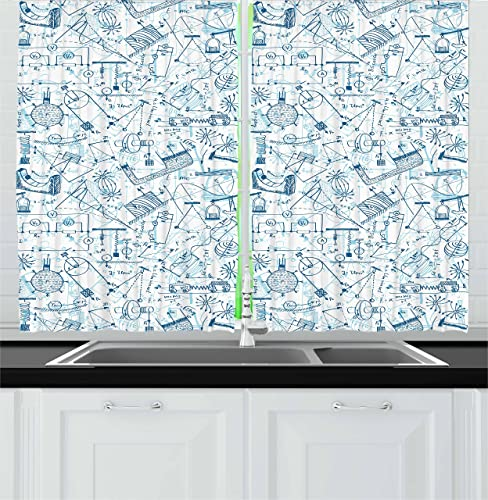Ambesonne School Kitchen Curtains, Physics Themed Drawing a Pattern of Formulas Related to The Field Doodle Art, Window Drapes 2 Panel Set for Kitchen Cafe Decor, 55 X 39 , Blue Pale Blue