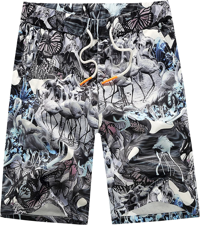 Mens Beach Shorts Fantastic Flower Leaves Swimming Trunks Board Pants Slim Fit