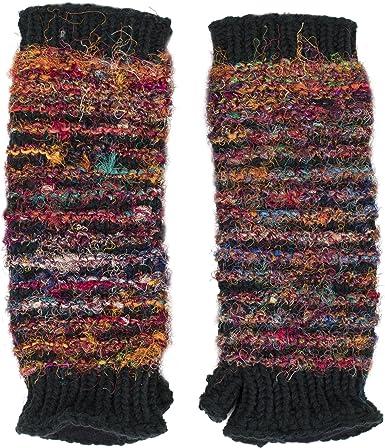 Black Multi Color Fingerless Glove