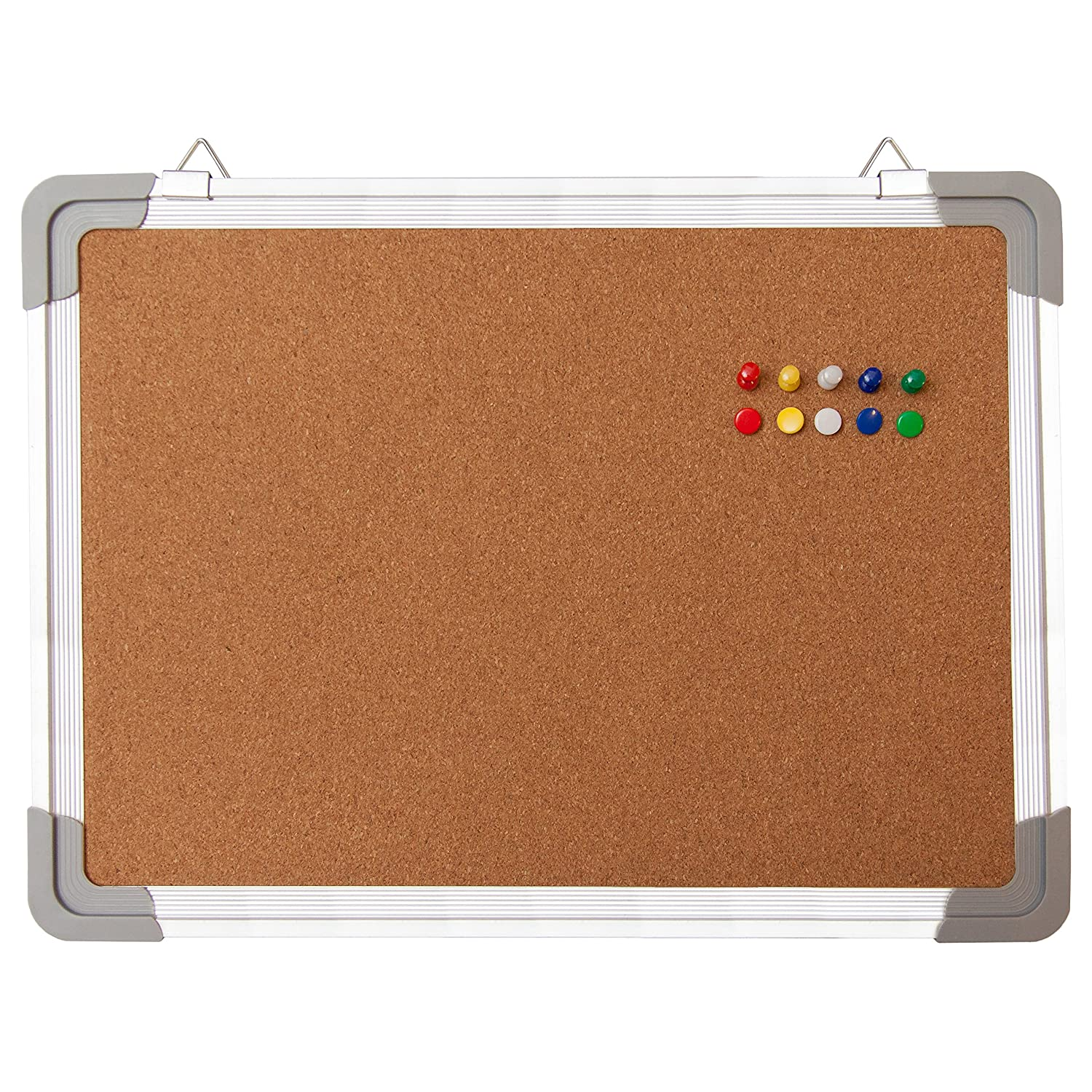 """Bulletin Board Set - Cork Board 16 x 12"""" + 10 Color Pins - Small Mini Hanging Tack Message Memo Picture Board for Home Office School - Presentation, Display and Planning (16x12"""" Cork)"""