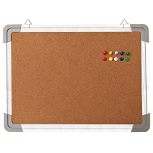 "Bulletin Board Set - Cork Board 16 x 12"" + 10 Color Pins - Small Mini Hanging Tack Message Memo Picture Board for Home Office School - Presentation, Display and Planning (16x12"" Cork)"
