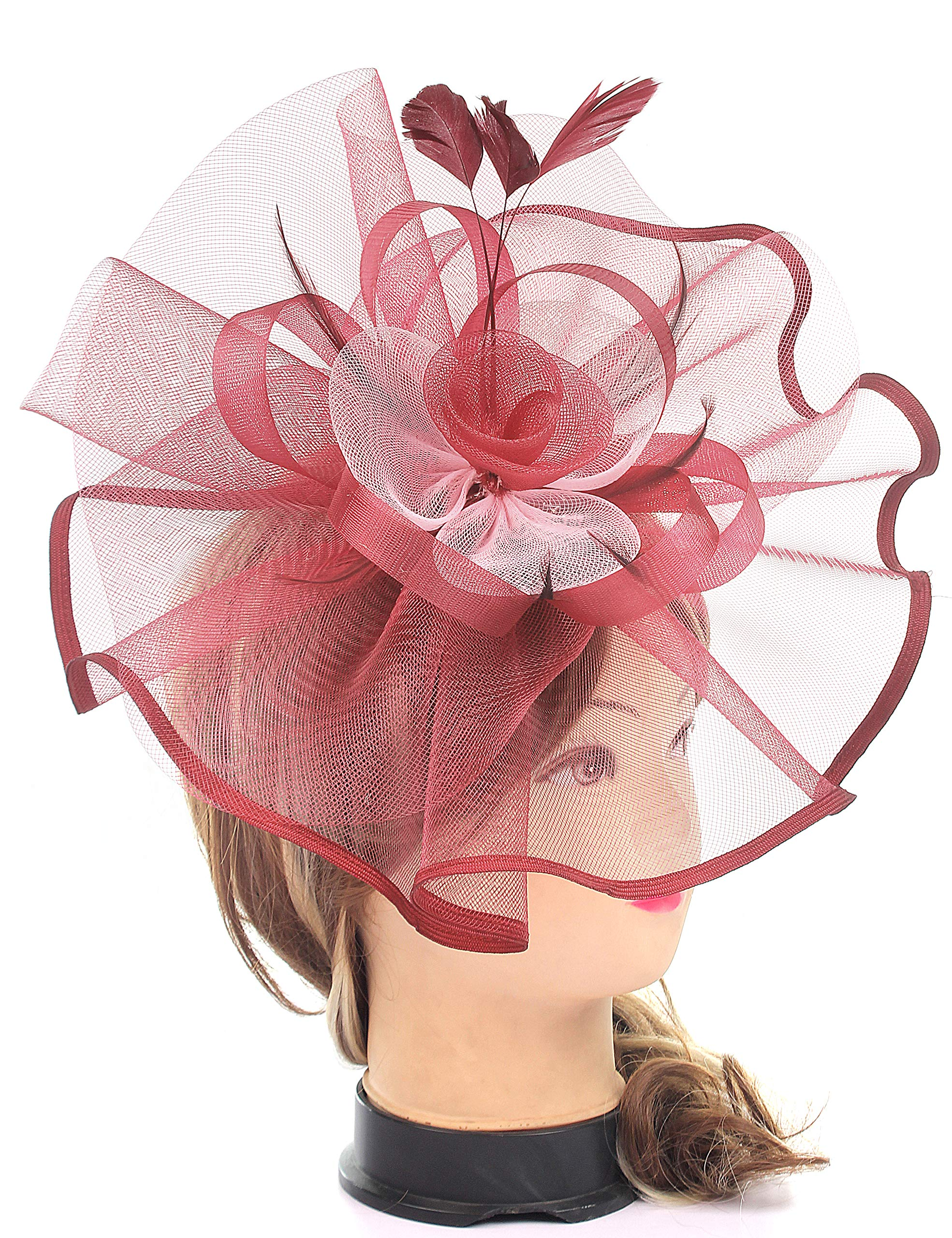 Myjoyday Fascinators Hat for Women Tea Party Headband Kentucky Derby Wedding Cocktail Flower Mesh Feathers Hair Clip (Wine Red & White)