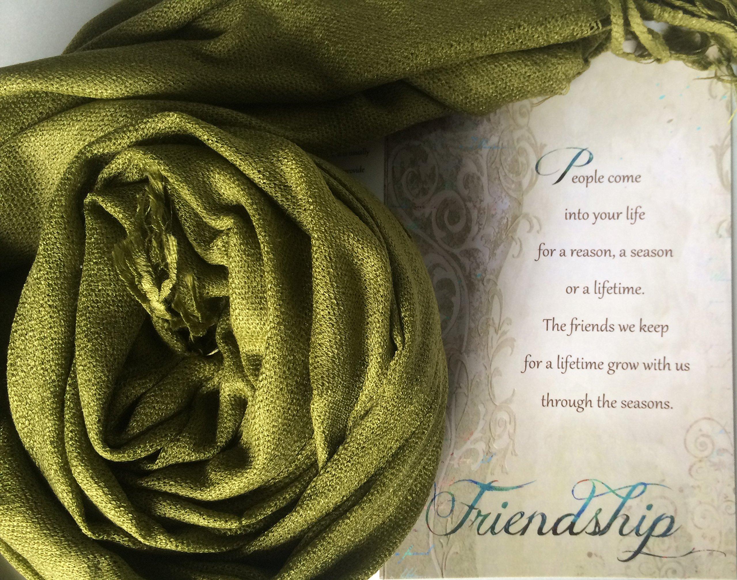 b702aa6791e0 Smiling Wisdom - Olive Earth Green Pashmina Scarf - Reason Season Lifetime  Friendship Greeting Card Gift Set - For Good Best Friend BFF - Pashmina    Silk ...