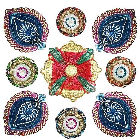 Diwali Decorative Rangoli Stencils Floor 9 Inches Round Big Size Set of 10