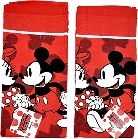 NEW Disney Mickey Mouse Dish Towels Oven Mitts Red Black White