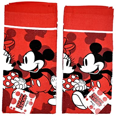 Disney Dish Towels 2 Piece Set Kitchen Cloth (Mickey Minnie Red)