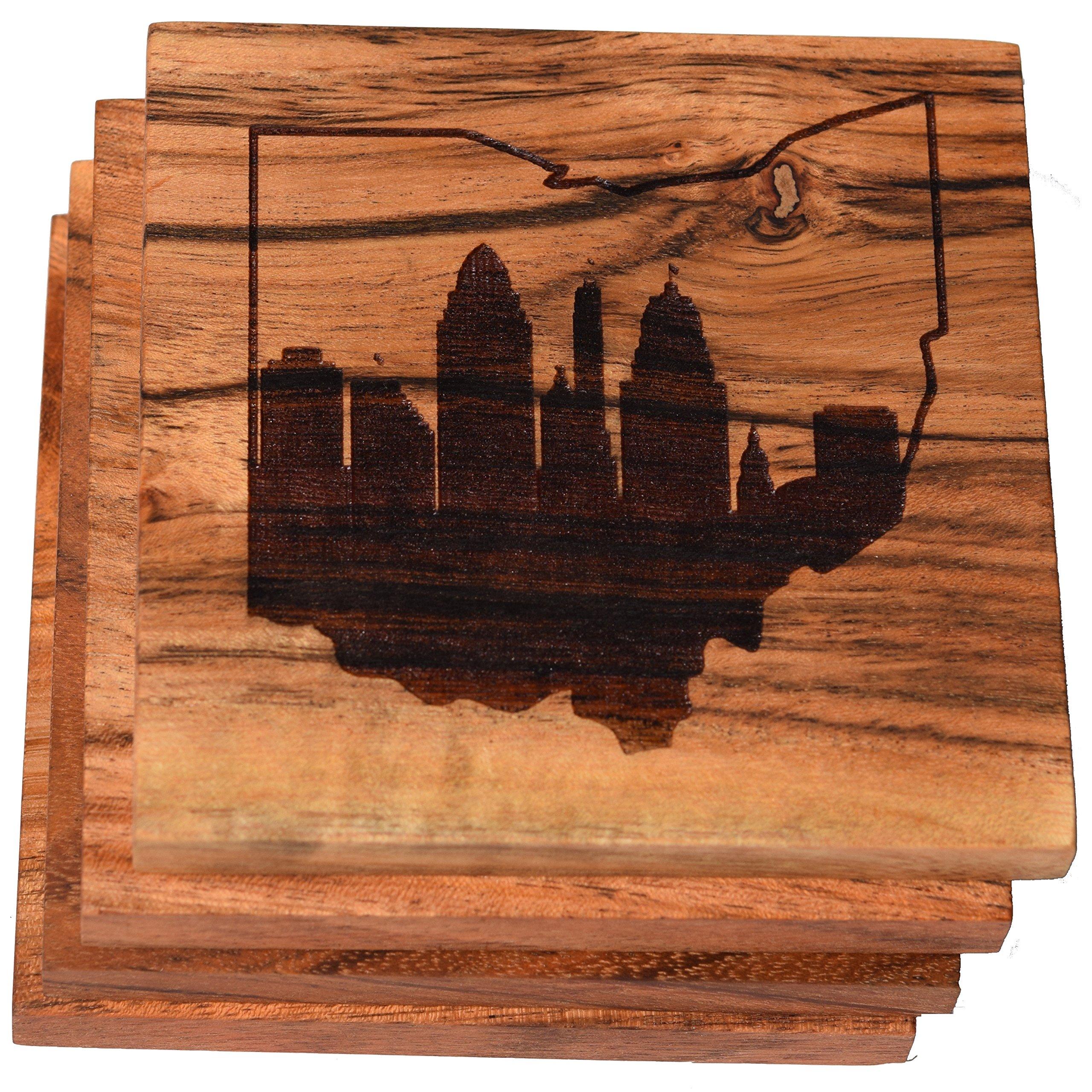 Cincinnati Skyline within Ohio Outline Coasters (Multiple Designs) - Engraved Acacia Wood Design - Set of Four