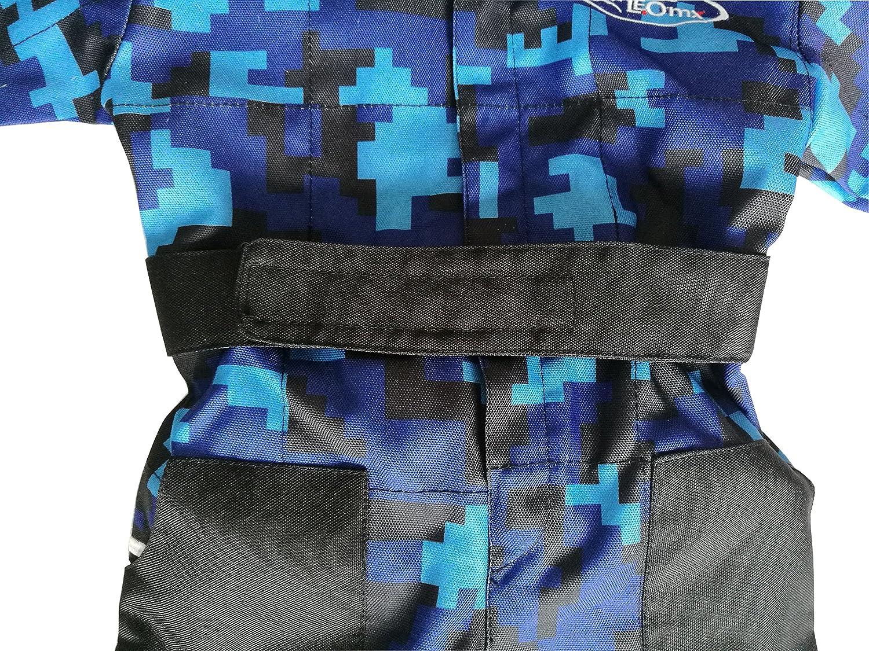 M 6cm /& Gloves /& Goggles Leopard LEO-X17 Blue Kids Motocross Motorbike Helmet M 51-52cm XS 3-4Yrs Kids CAMO Motocross 1PC Suit
