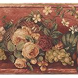 Retro Fruits Bloomed Roses Flowers In Basket Red Wide Wallpaper Border Vintage Design Roll 15